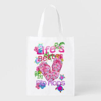 La vida es mejor en flips-flopes bolsas para la compra