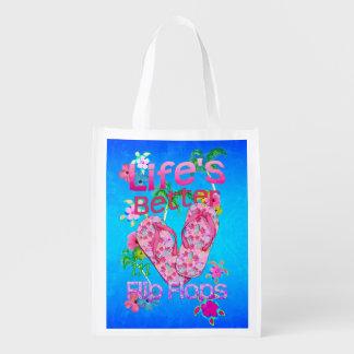 La vida es mejor en flips-flopes bolsas reutilizables