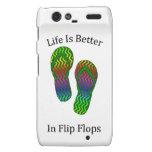 La vida es mejor en flips-flopes droid RAZR funda