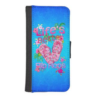 La vida es mejor en flips-flopes fundas cartera de iPhone 5
