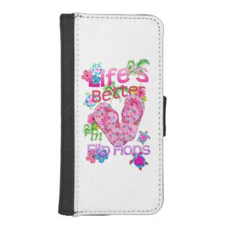 La vida es mejor en flips-flopes fundas tipo billetera para iPhone 5