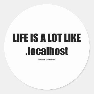 La vida es mucho como .localhost (el humor de pegatina redonda
