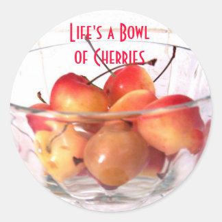 , La vida es pegatina de las cerezas de Bowlof