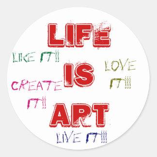 La vida es pegatinas del arte etiqueta redonda