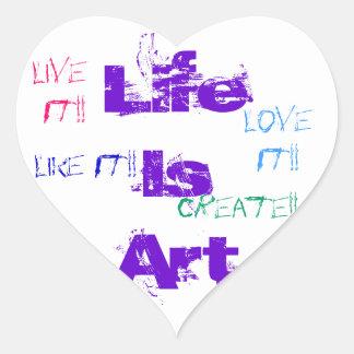 La vida es pegatinas del arte pegatina en forma de corazón