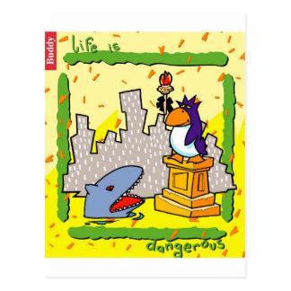 La vida es peligrosa tarjeta postal