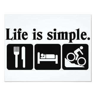 """La vida es simple, bici invitación 4.25"""" x 5.5"""""""
