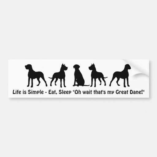 La vida es simple come cita del humor de great dan pegatina para auto