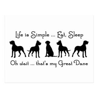 La vida es simple come humor del perro de great da postales