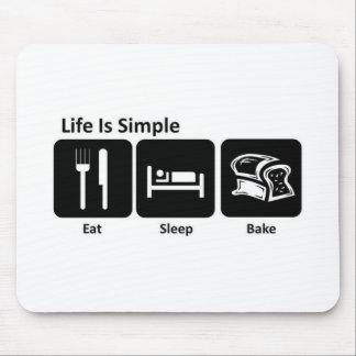 La vida es simple come sueño cuece alfombrilla de ratones