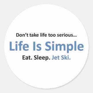 La vida es simple, esquí del jet pegatina redonda