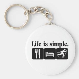La vida es simple, esquí llavero redondo tipo pin