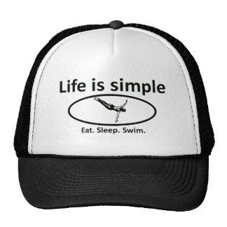 La vida es simple, nadada gorras
