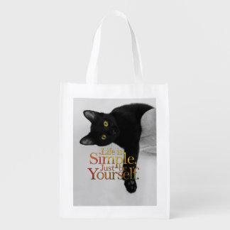 La vida es simple sea usted mismo cita inspirada bolsas de la compra