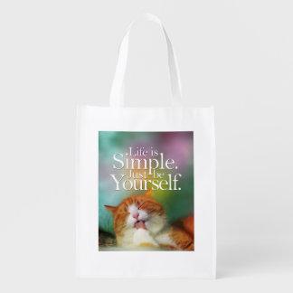 La vida es simple sea usted mismo cita inspirada bolsa reutilizable