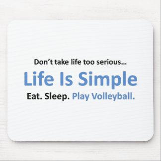 La vida es simple, voleibol del juego tapete de raton