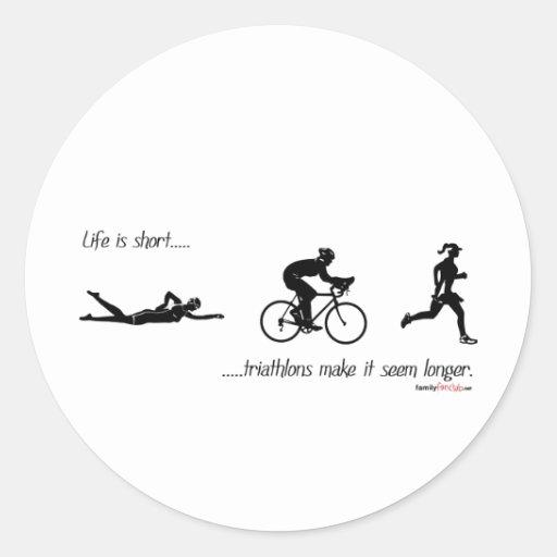 La vida es… triathlons cortos hace que parece más pegatina redonda