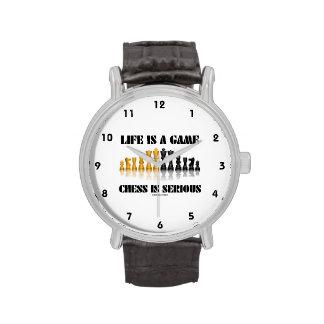 La vida es un ajedrez del juego es seria (el humor relojes de pulsera
