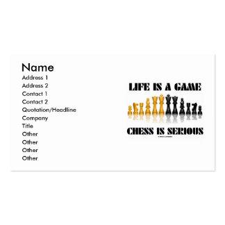 La vida es un ajedrez del juego es seria (el juego tarjetas de visita