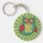 La vida es un animal lindo del búho de pitido llaveros personalizados