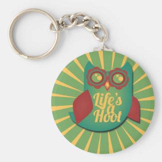 La vida es un animal lindo del búho de pitido llavero redondo tipo pin