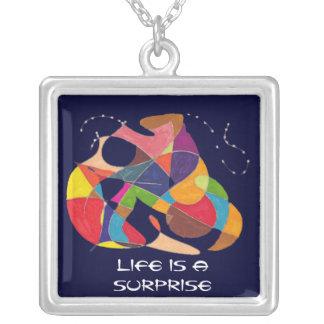 La vida es un bosquejo Sorpresa-Abstracto del lápi Colgante Cuadrado