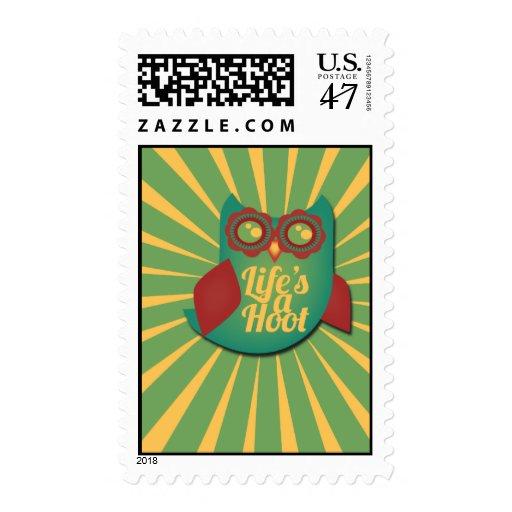 La vida es un búho de pitido sello postal