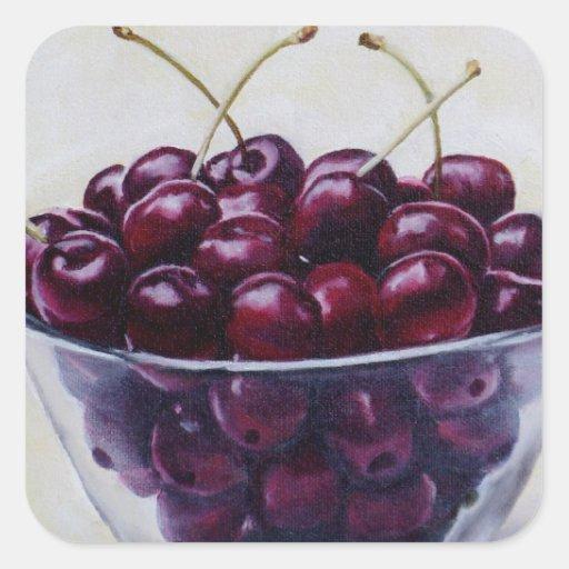 La vida es un cuenco de cerezas calcomanías cuadradases
