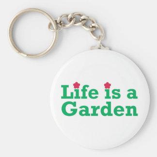 La vida es un jardín llavero redondo tipo pin
