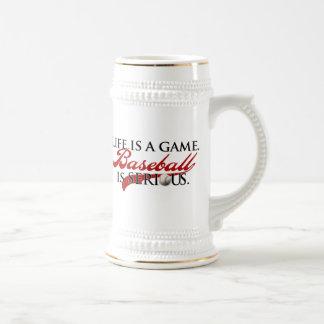 La vida es un juego, béisbol es seria jarra de cerveza