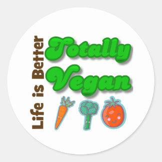 La vida es un mejor totalmente vegano etiquetas redondas