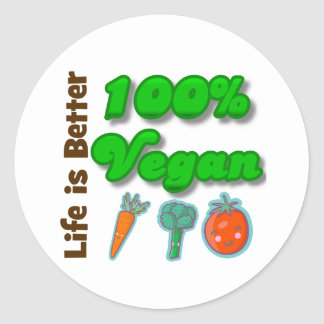 La vida es un mejor vegano del 100 por ciento etiqueta redonda