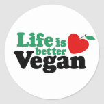 La vida es un mejor vegano etiqueta redonda