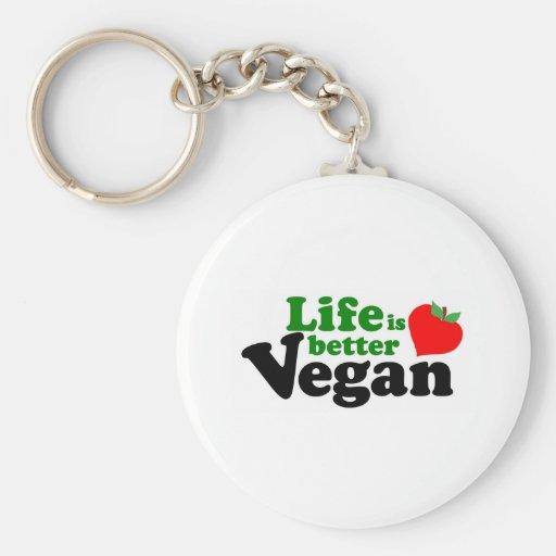 La vida es un mejor vegano llaveros