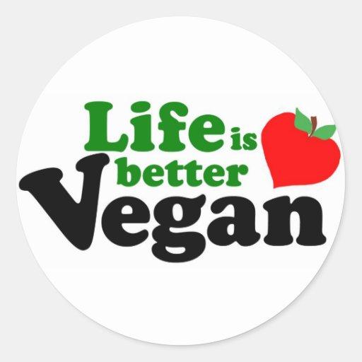 La vida es un mejor vegano pegatinas redondas