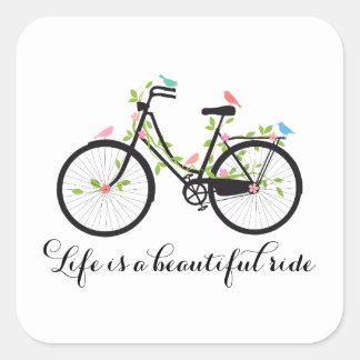La vida es un paseo hermoso, bicicleta del vintage pegatina cuadrada