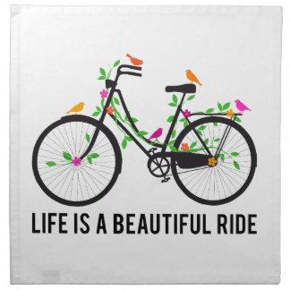 La vida es un paseo hermoso, bicicleta del vintage servilleta imprimida