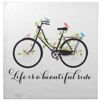 La vida es un paseo hermoso, bicicleta del vintage servilletas de papel
