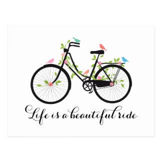 La vida es un paseo hermoso, bicicleta del vintage tarjeta postal