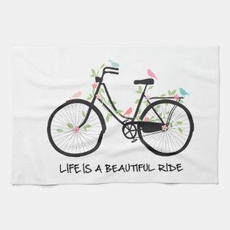 La vida es un paseo hermoso, bicicleta del vintage toallas de cocina