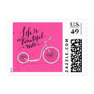 La vida es un paseo hermoso timbre postal