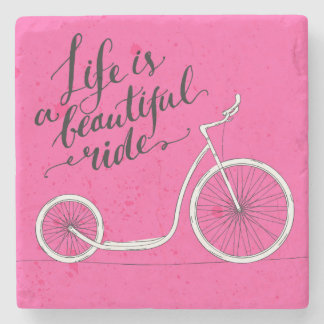 La vida es un rosa hermoso del paseo posavasos de piedra