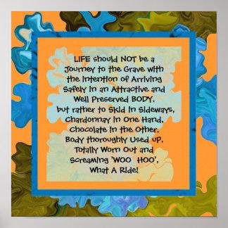la vida es un viaje de la diversión póster