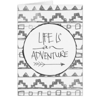 La vida es una aventura tarjeta de felicitación