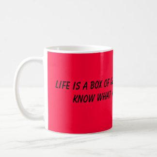 La vida es una caja de chocolates tazas