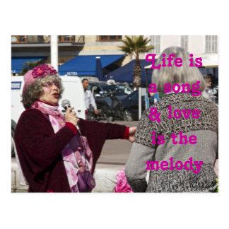 La vida es una canción y el amor es la melodía tarjetas postales