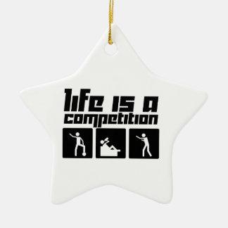 La vida es una competencia adorno navideño de cerámica en forma de estrella