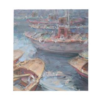 La vida es una pintura al óleo del barco de los blocs