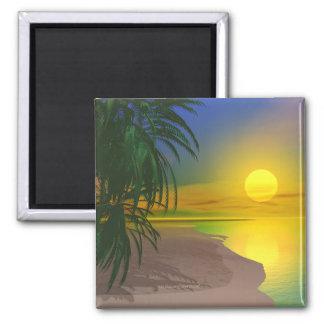 La vida es una playa soleada imán cuadrado