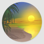 La vida es una playa soleada pegatina redonda